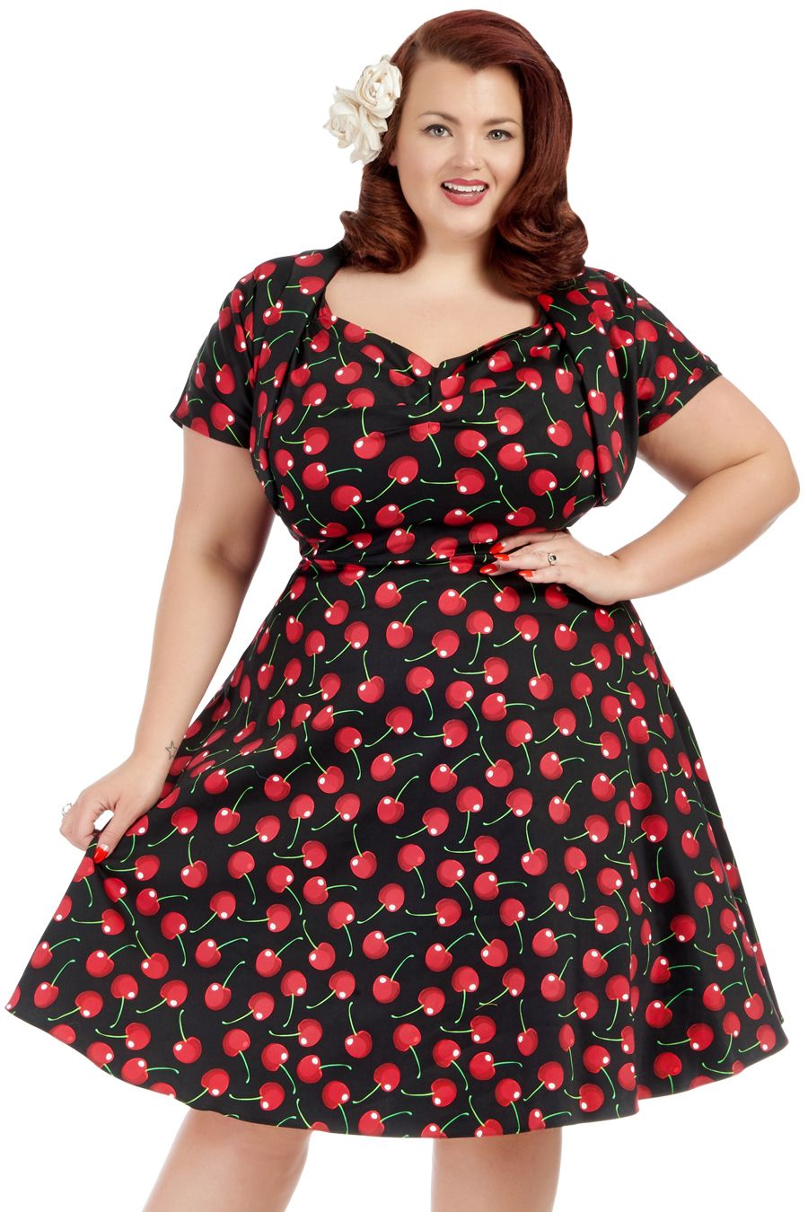 f1776b0f51 Cherries on Black Bolero Sweetheart Dress : Lady Voluptuous ...