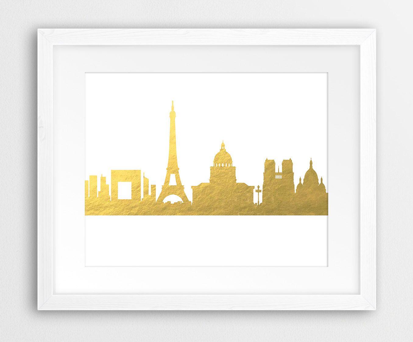 Paris Skyline Printable File, Paris Cityscape Gold Foil Texture ...