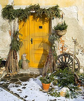 love the golden yellow door surrounding by an assortment of greenery and herbs