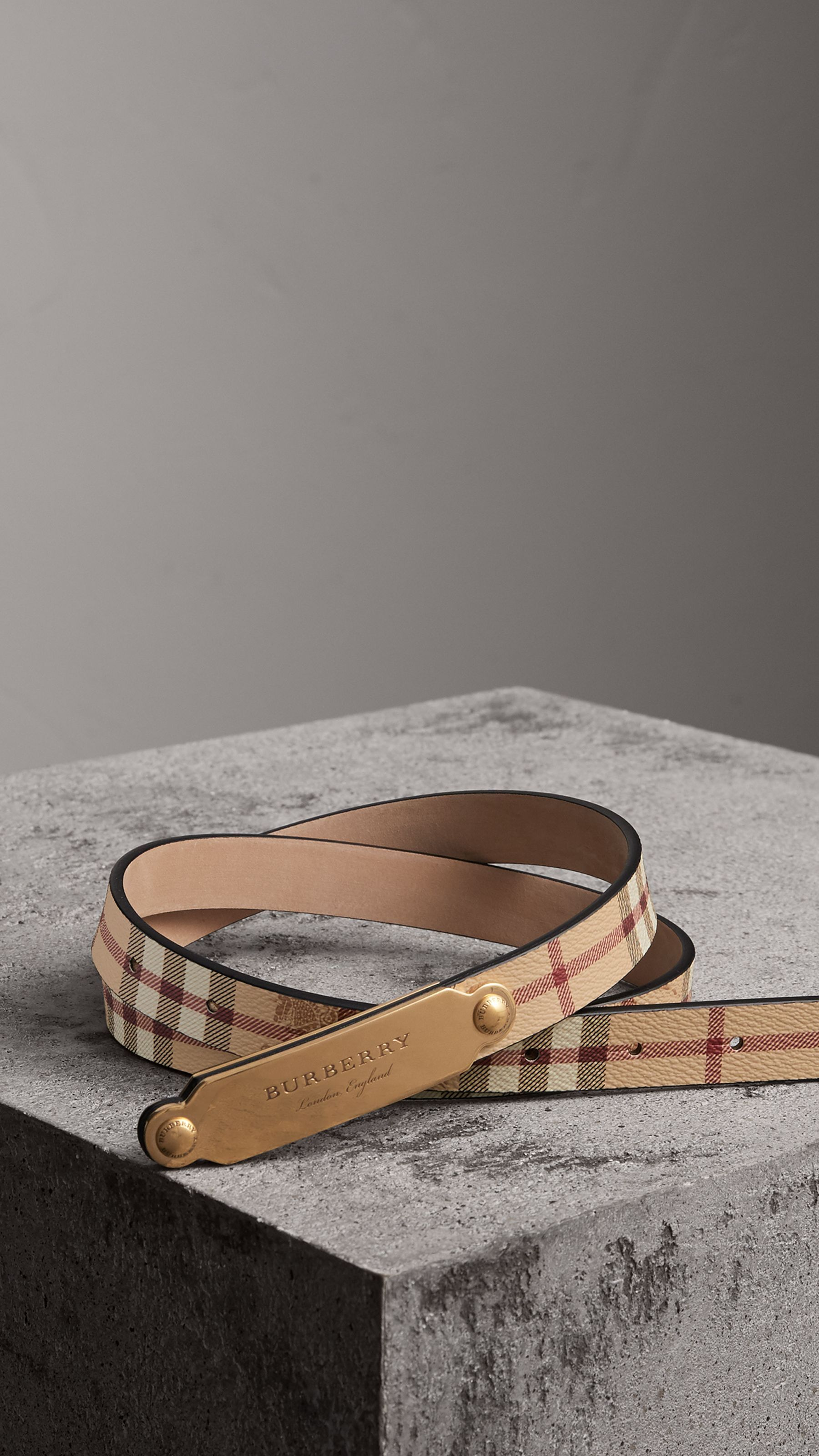 Plaque Buckle Haymarket Check and Leather Belt in Camel - Women   Burberry 9ee77cb1e67