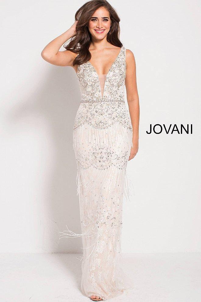 948f242e6867 Details: Beaded lace, fringe on skirt, form fitting silhouette, floor  length, sleeveless, plunging neck with sheer mesh insert, V back,  embellished belt.