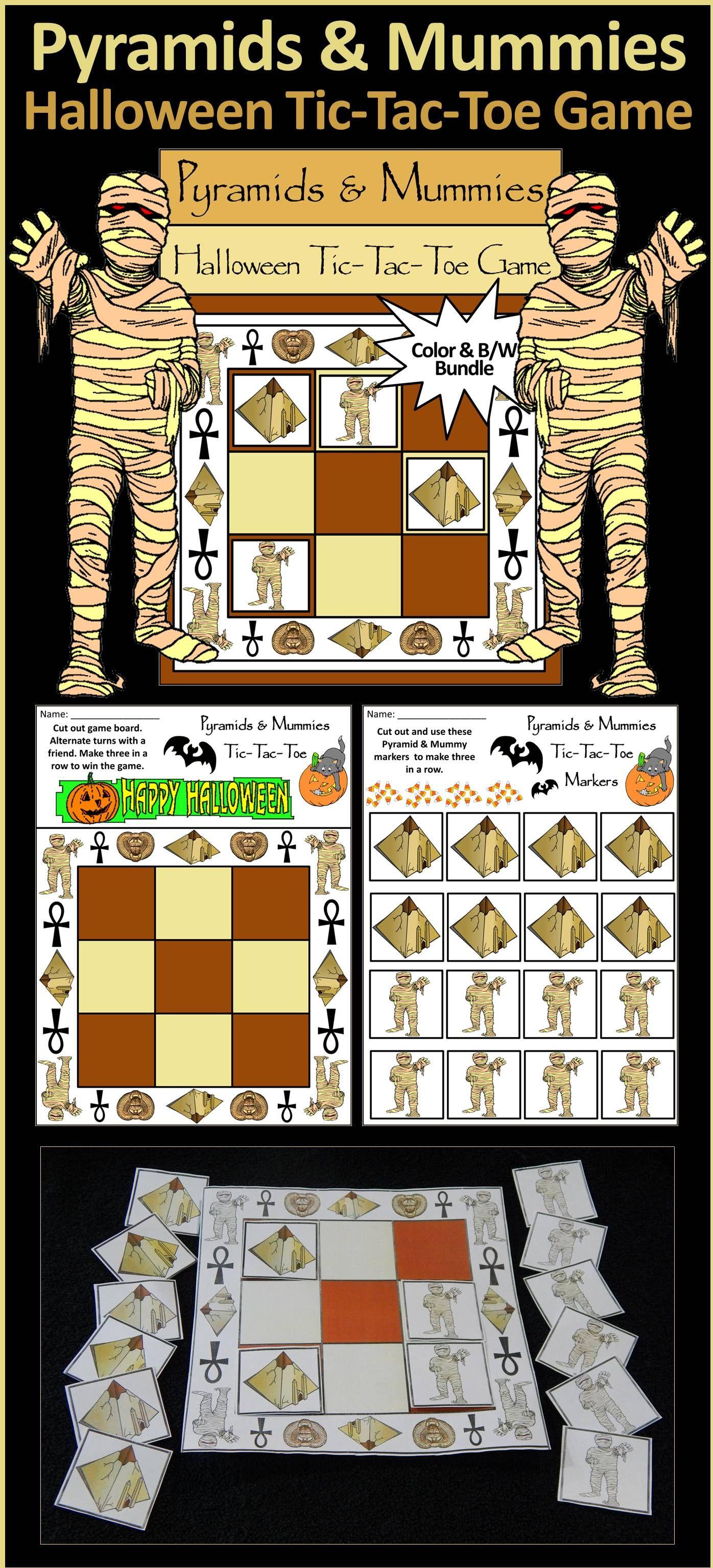 Halloween Activities Pyramids Amp Mummies Tic Tac Toe Game Activity Bundle