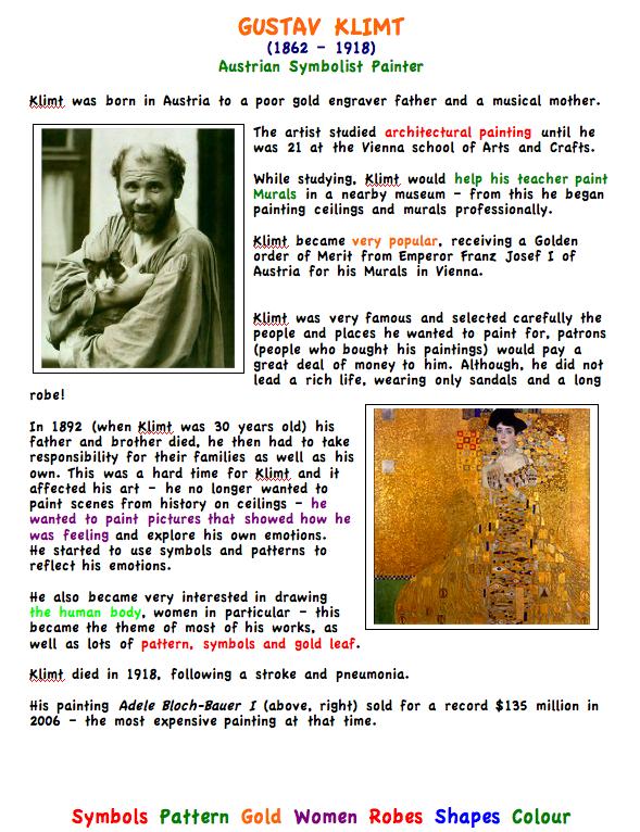 Gustav Klimt. Artist Fact Sheet for Kids   Klimt   Pinterest ...