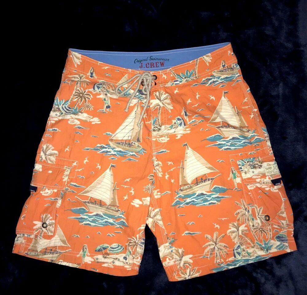 3b5c45c4b4 J. Crew Mens 33 SWIM TRUNKS Board Shorts Tropical Orange Blue #fashion  #clothing #shoes #accessories #mensclothing #swimwear (ebay link)