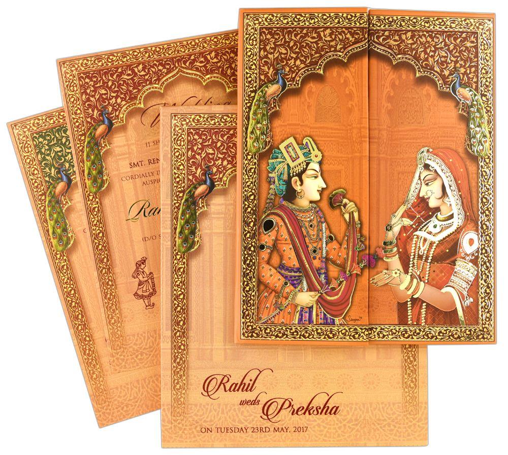 IWRX331, Orange Color, Multicolor Offset Cards, Hindu Cards.   Hindu  wedding invitation cards, Wedding card design indian, Hindu wedding  invitations
