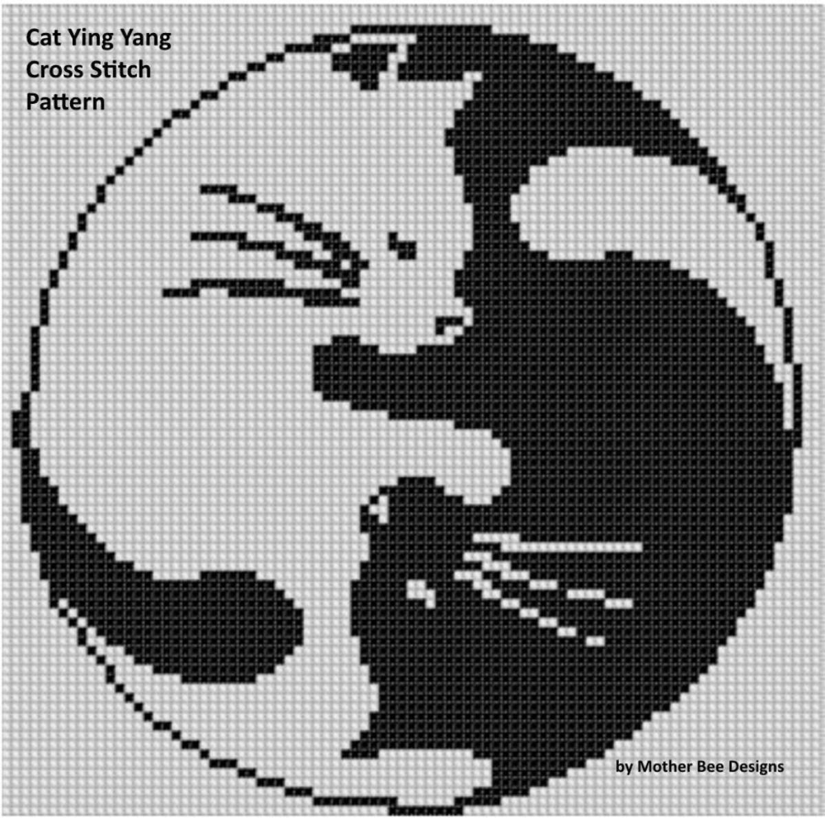 Cat Ying Yang Cross Stitch Pattern | تابلوهاي قلاب بافي | Pinterest ...