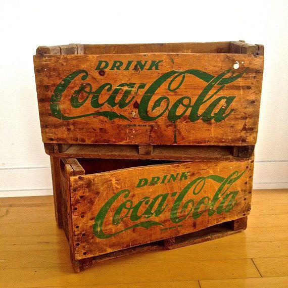 VIntage Coca Cola wooden crate rare green by MyVintageCabin