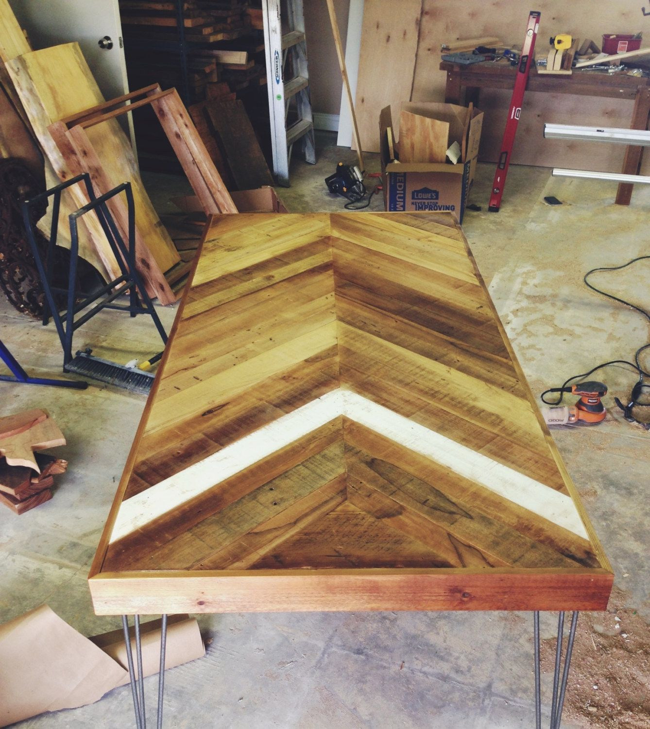 Reclaimed Pallet Dining Table And Bench Hairpin Legs By: Reclaimed Barn Wood Chevron Herringbone DINING KITCHEN