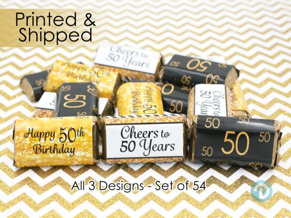 Elegant Black and Gold Personalized 40th Birthday Favor Stickers Miniatures Candy Bar Wrapper Labels 54 Total