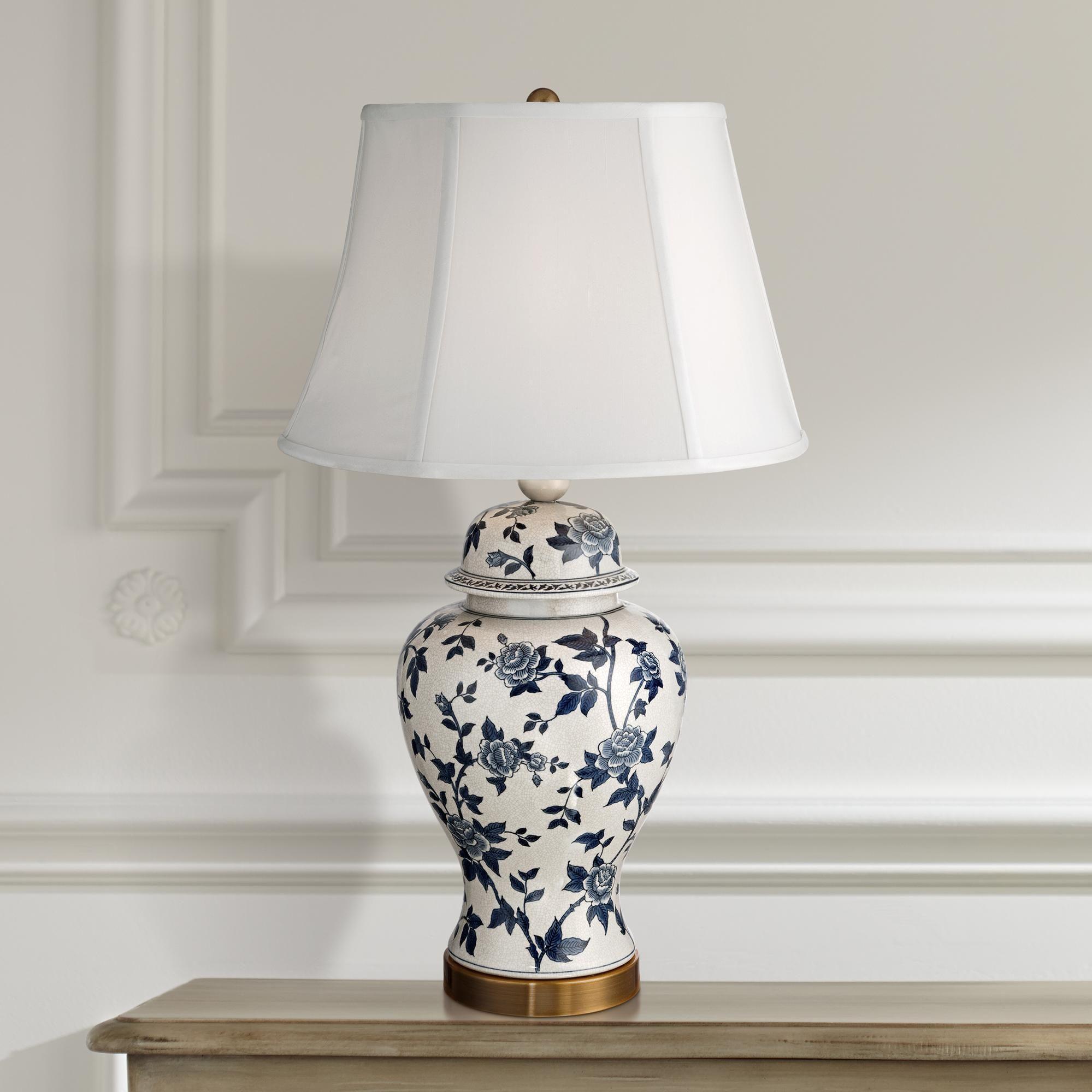 Rose Vine Blue And White Temple Jar Table Lamp Abajur Seramik Vazolar