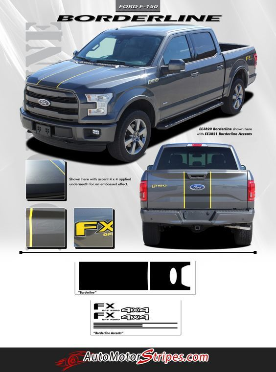 Vehicle Specific Style Ford F 150 Series Truck Borderline W Accents Middle Hood Vinyl Graphic Stripe Decals Year Fitmen Ford F150 Racing Stripes Rally Stripes