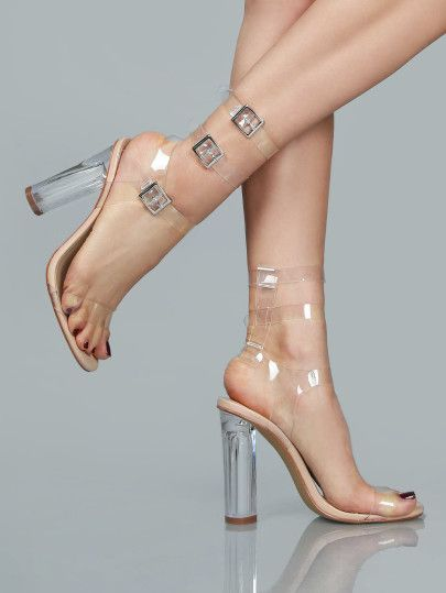 Sandalias con tiras transparentes - nude  589b2f25ffb9