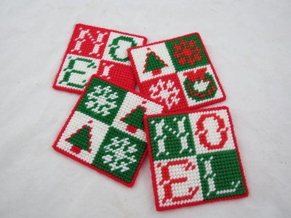 Plastic Canvas Christmas.Plastic Canvas Christmas Coasters Noel By