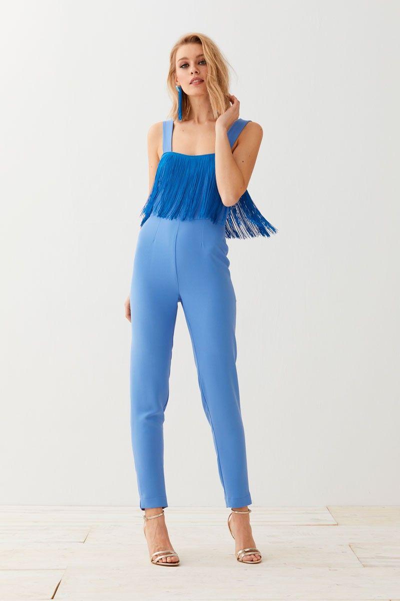 9ca2ed6c5d66 Mono Pitillo Azul Flecos Zeva | Moda | Vestidos de fiesta, Vestidos ...