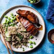 Caramelized Teriyaki Salmon with Sesame Toasted Buckwheat #teriyakisalmon