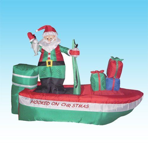 8 Foot Long Inflatable Santa Claus On A Fishing Boat By