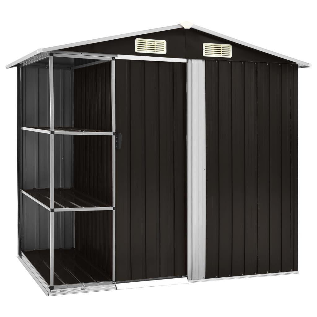 vidaXL Garden Storage with Brown Shelves 205 x 130 x 183 cm. Iron …