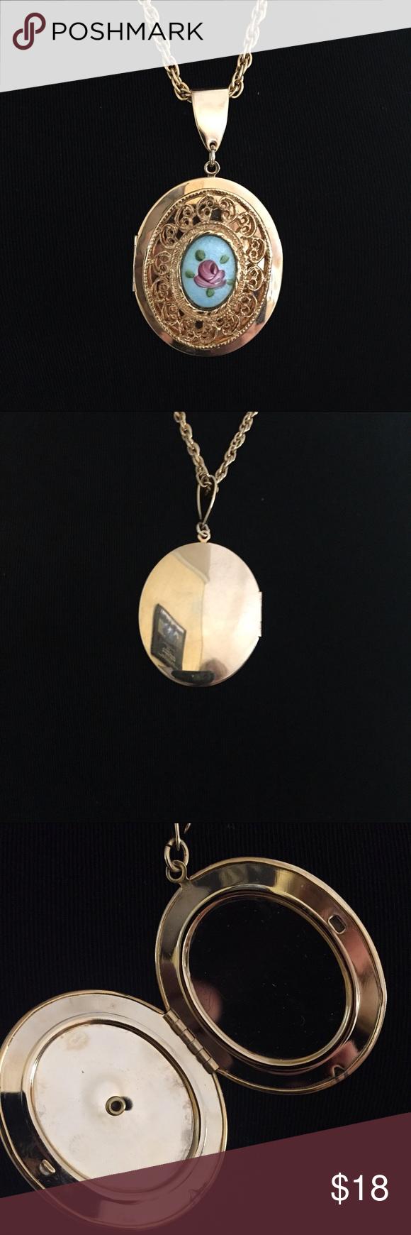 vintage filagree enameled rose locket necklace locket necklace