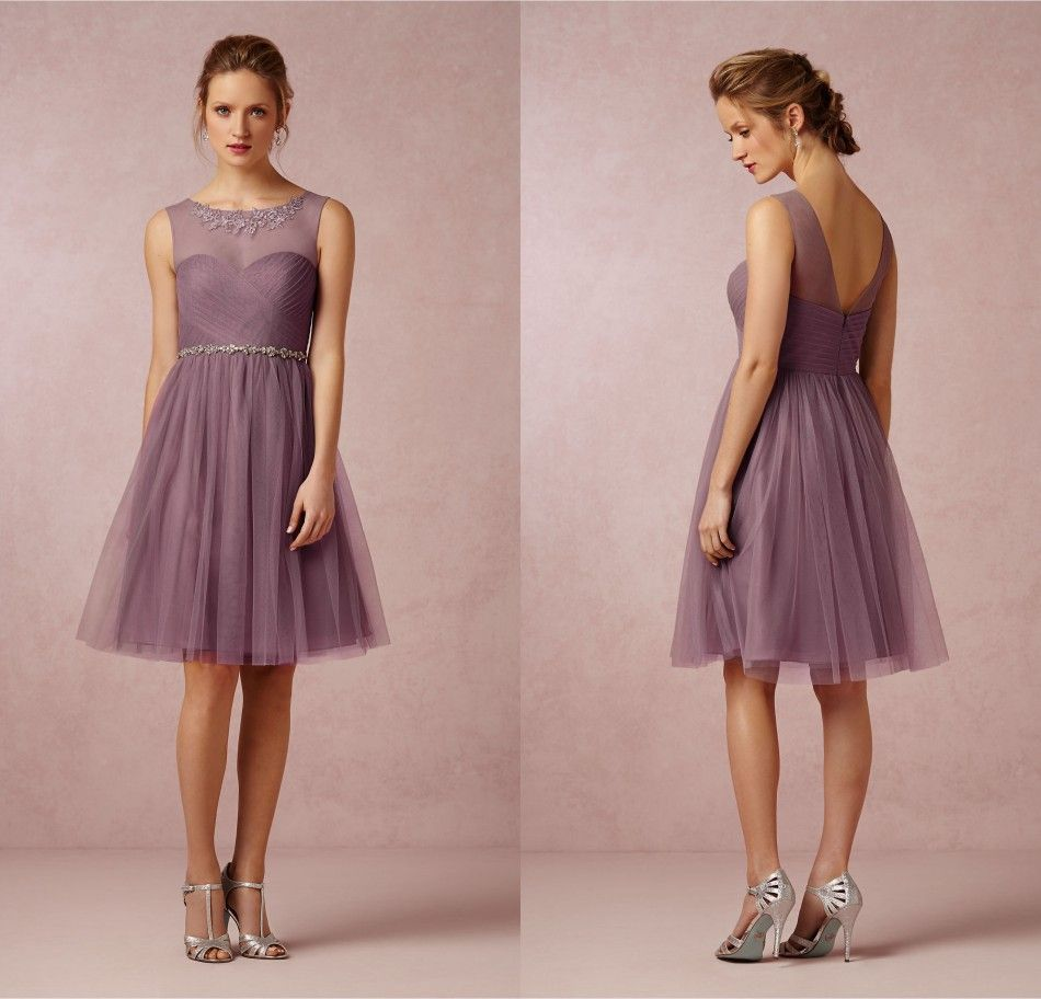 Cheapest Wedding Party Dress Crew Neck Soft Tulle Skirt Mauve