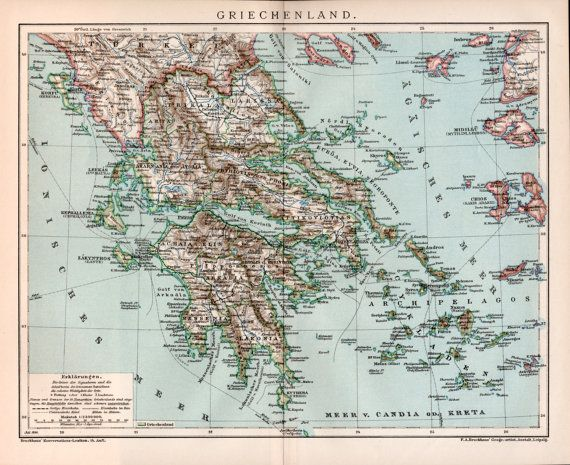 1898 Greece Map Antique Print Greek Islands Lithograph Print Old