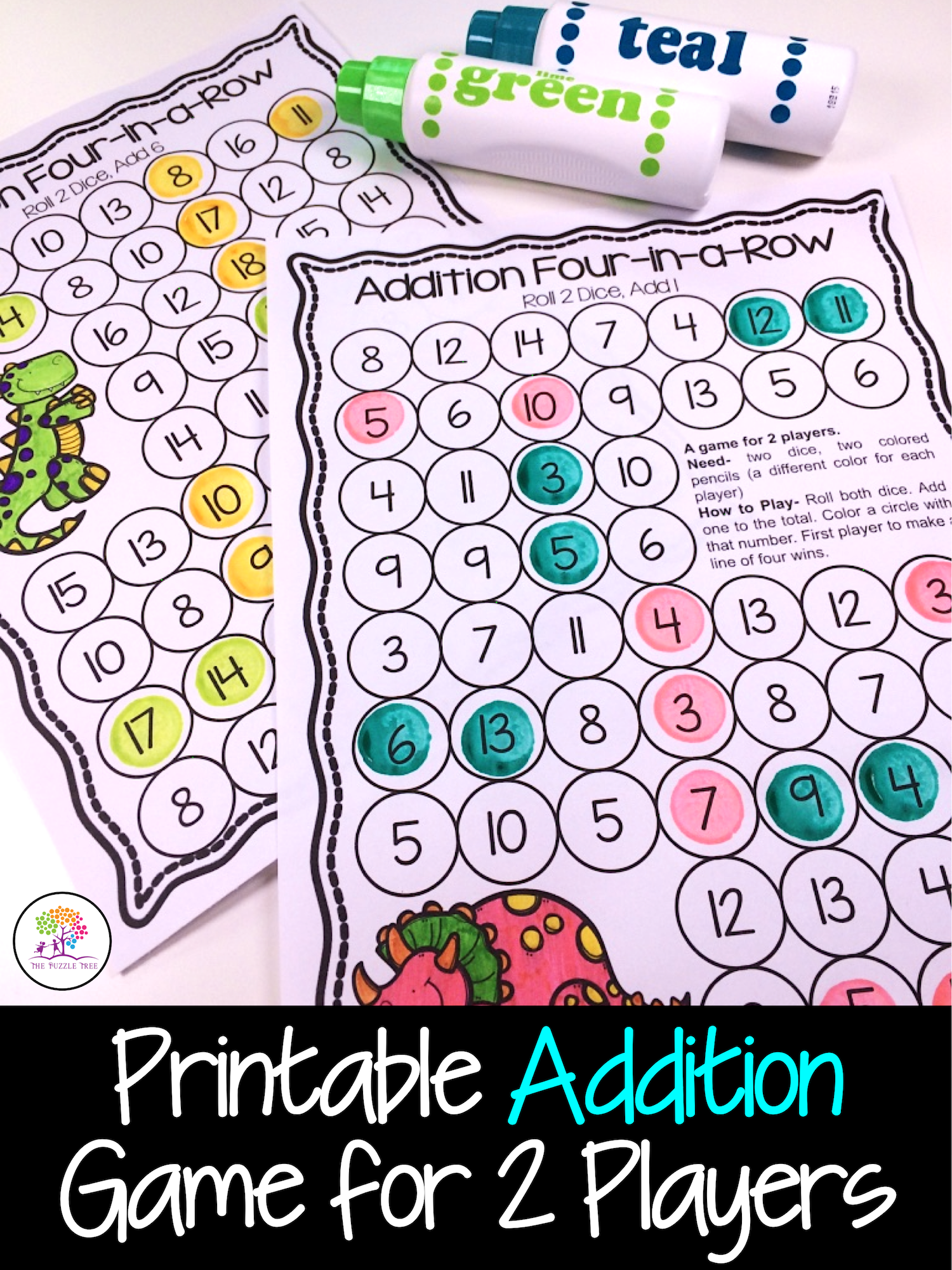 Addition Four In A Row Addition Game For Adding 1