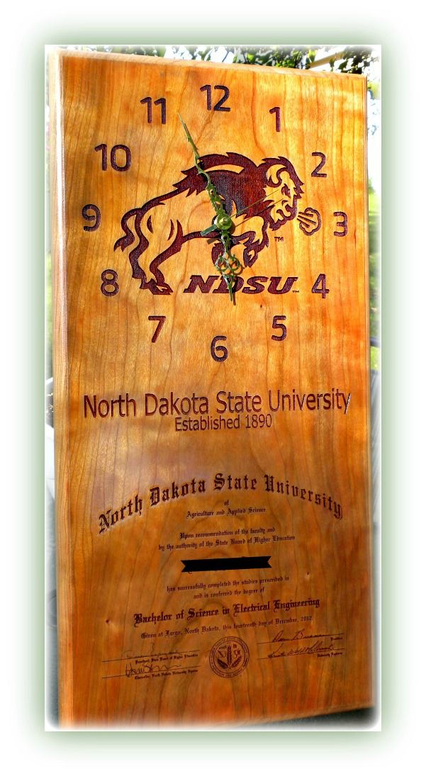ndsu bison made to order cherry wood clock laser engraved with