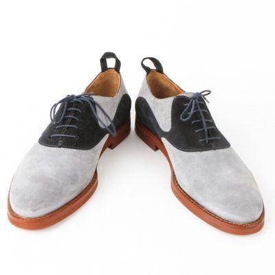 9390bc9b46b1 Men s Black Fleece by Thom Browne Blue Suede Saddle Oxford Shoes ...