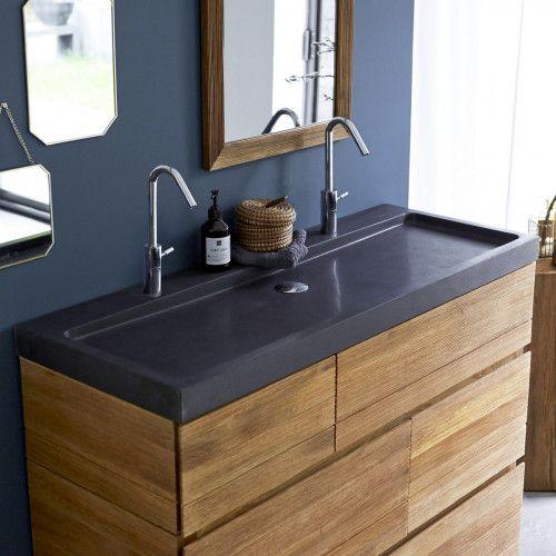 Meuble en chêne et vasques pierre de lave KArl duo \u2013 Vente meubles