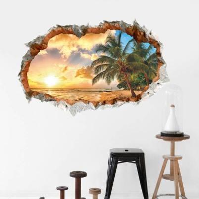 Sunshine Beach Sea Sun Tree Resort 3D Window View Vinyl Wall Stickers