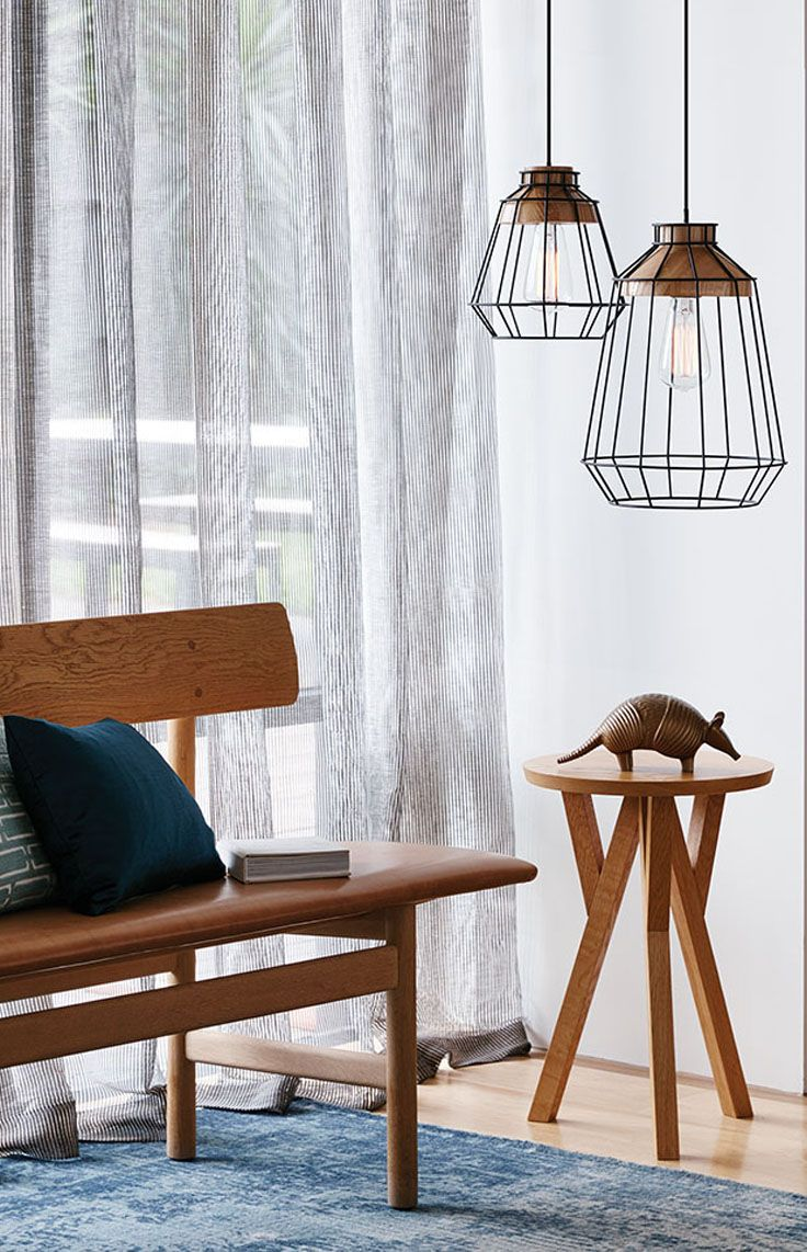 The Beacon Lighting Reuben 1 light large black wire pendant with ash ...