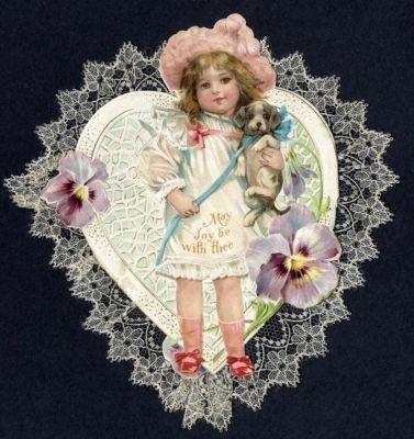 1919 Lacy Frances Brundage Cute Girl Valentine.