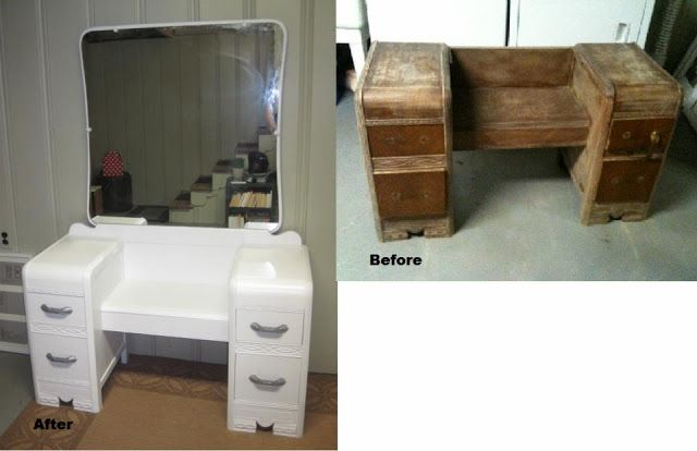 1940 39 s art deco waterfall makeup vanity restoration home for Diy art deco furniture