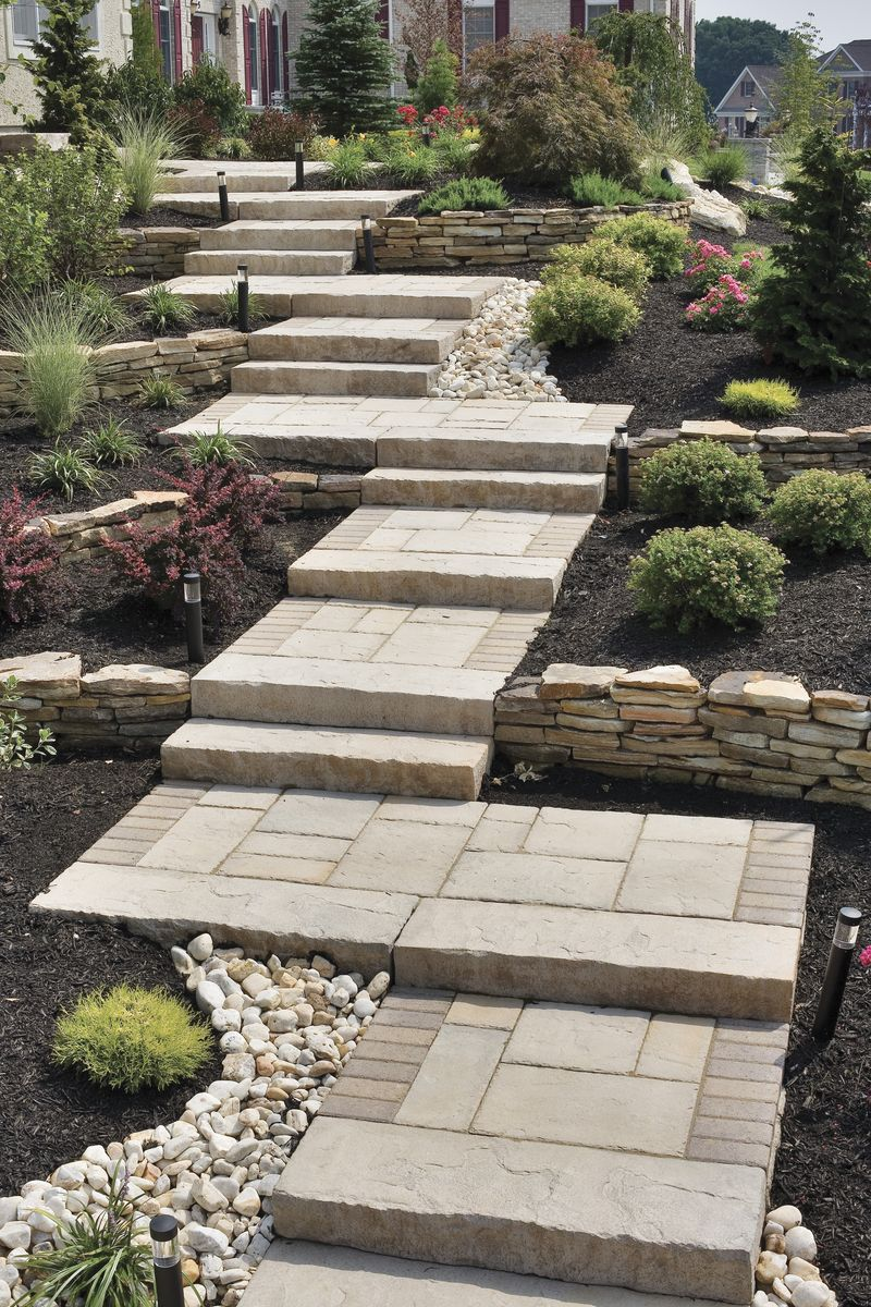 Perfect walkway for a sloping yard using pavers brick for Landscaping ideas stone path