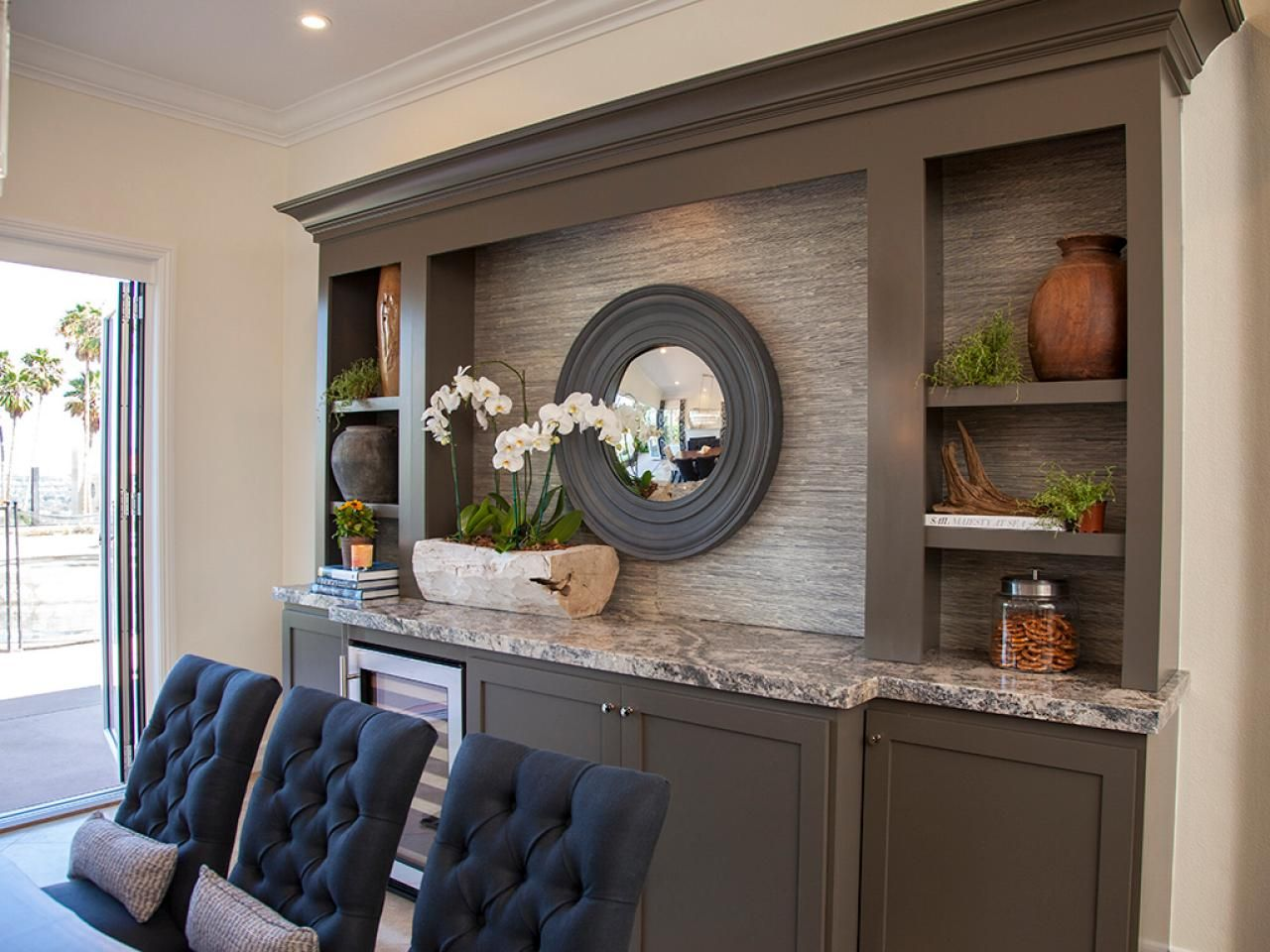 Neutral Dining Room With Builtin Buffet And Shelves  Hgtv Pleasing Shelves Dining Room Design Ideas