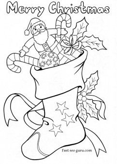 Printable Christmas Stockings With Candy And Toys Coloring Pages For KidsFree Print Out Activities