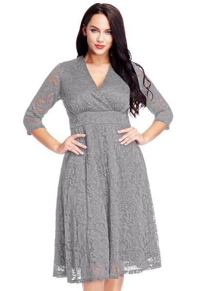 Plus Size Grey Lace Surplice Midi Dress