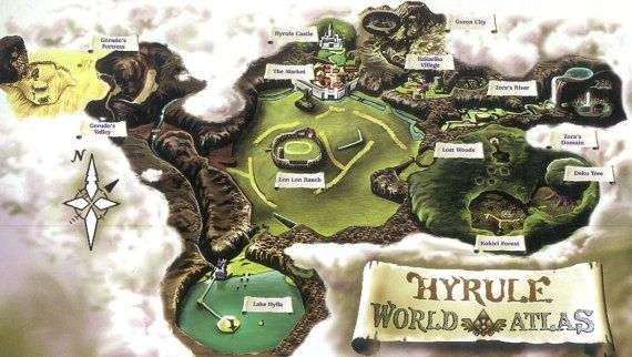 42 x 24 HUGE Hyrule Zelda Ocarina of Time World Map by Packmania