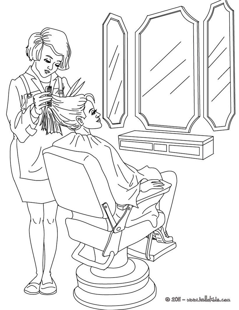 Go Green And Color This Hairdresser Coloring Page Amazing Way For Kids To Discover Job More Original Content Coloring Pages Doodle People Free Coloring Pages