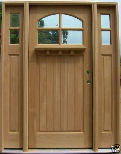 unfinished front doorCraftsman Wood Exterior Entry Door w Sidelights 4Lite