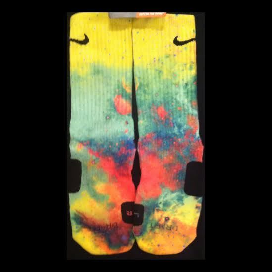 New Authentic Nike Elites Pop Rocks Inspired Edition 2014Our graphic designer has 19 years experience in the industry. He works to achieve perfection. Some sock designs may take six to eight hours to create. The entire sock is covered and there is very minimal white lines if any. The reason for our price is that we use the highest quality of paper and only patented inks. These socks will last a long time where others will fade. You get what you pay for with our company.NIK...