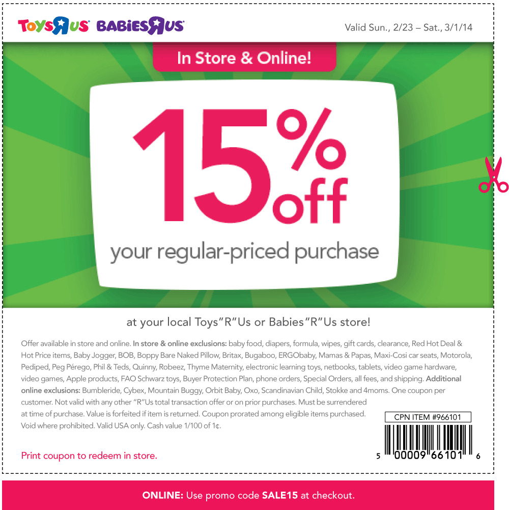 Pinned January 5th 15 Off At Babies R Us Toys R Us Or Online Via Promo Code Sale15 Coupon Via The C Free Printable Coupons Printable Coupons Toys R Us