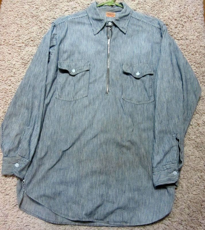 Vintage 1960's Headlight Striped Railroad Work Shirt