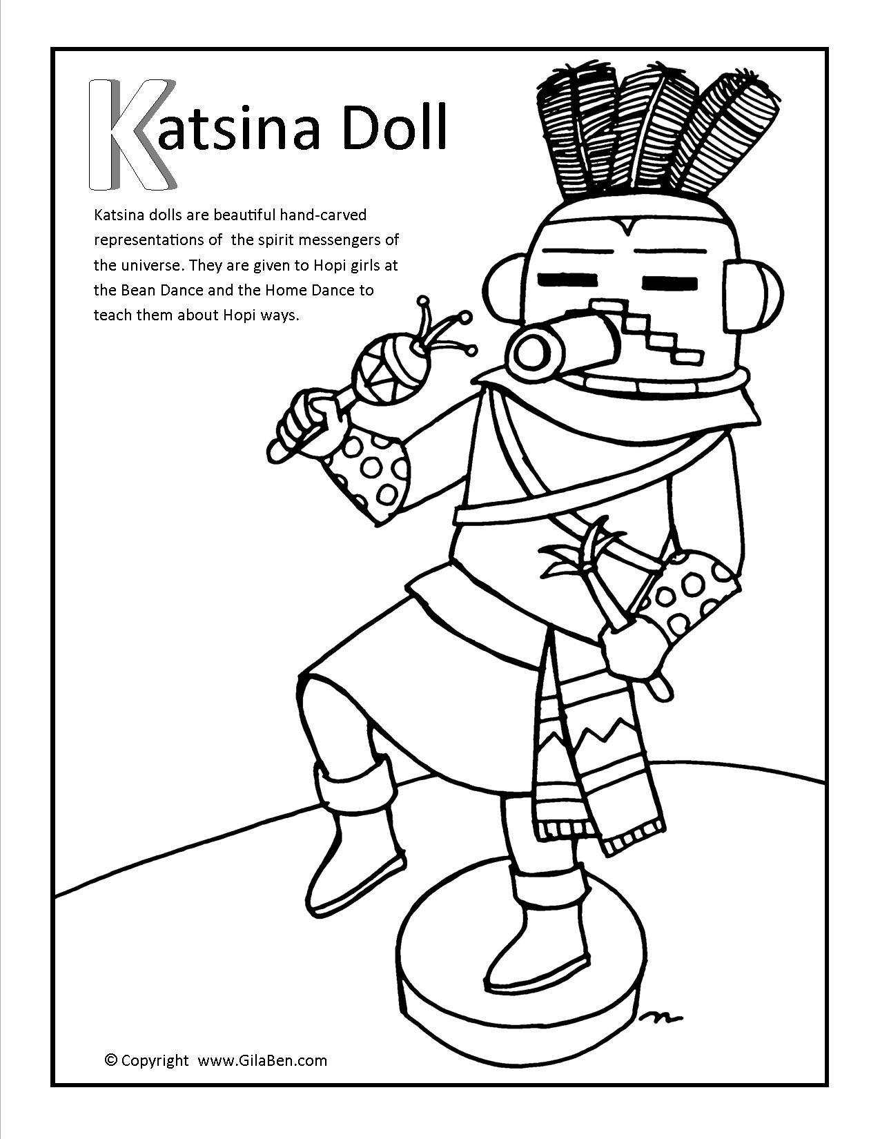 Katsina Doll Coloring Page More Arizona Coloring Pages At Gilaben