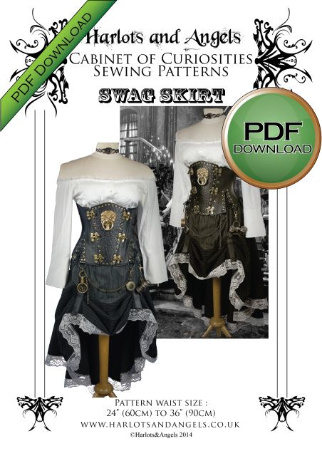 Steampunk Hiked skirt Sewing pattern Wild west Firefly All sizes in one pattern
