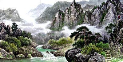 """북한 명화가 """"김기수""""의 작품 『금강산의 보덕암』. 1950년 자강도 전천군에서 출생하여 평양미술대학 조선화학부를 졸업, 대학시절부터 우리나라의 아름다운 강산만을 조선화에 담아 내고 있는 명화가로"""