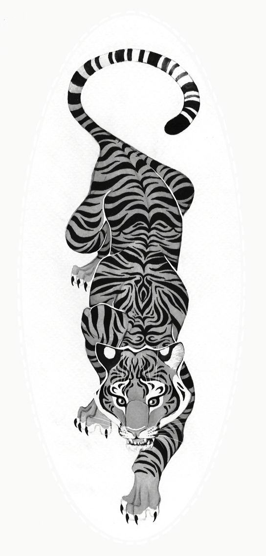 Black And White Crawling Tiger Tattoo Ink Me Tattoos Tiger
