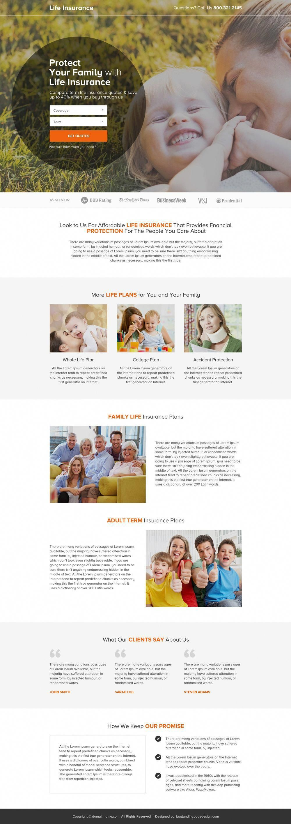 term life insurance quote clean landing page design # ...