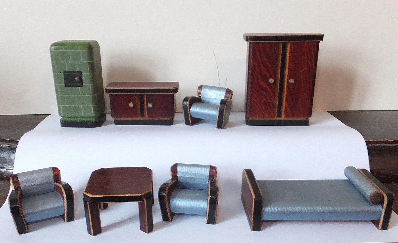Details Zu Puppenhaus Um 1940 138 Teile Puppe Haus Holzspielzeug