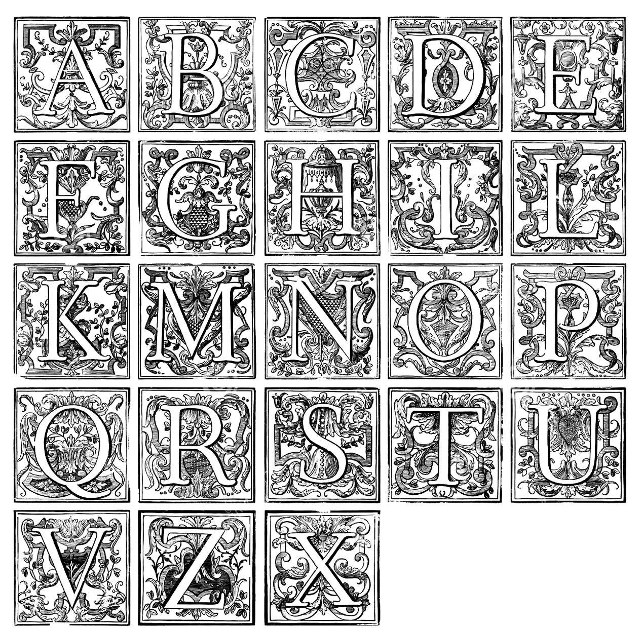 Galerie de coloriages gratuits coloriage alphabet vintage ancien alphabet agr ment de divers - Alphabet coloriage ...