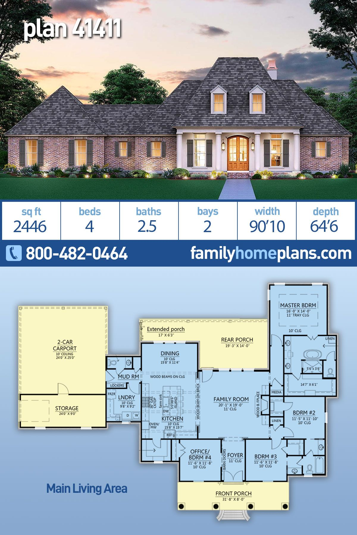 Traditional Style House Plan 41411 With 4 Bed 3 Bath 2 Car Garage Acadian House Plans House Plans Family House Plans